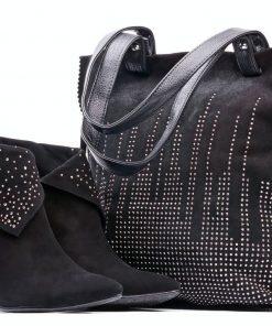 Women's Black Shoes and Bag Set